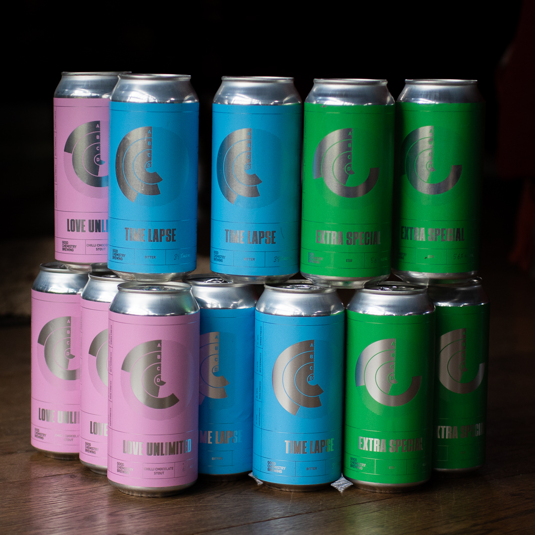 Colourful beer cans